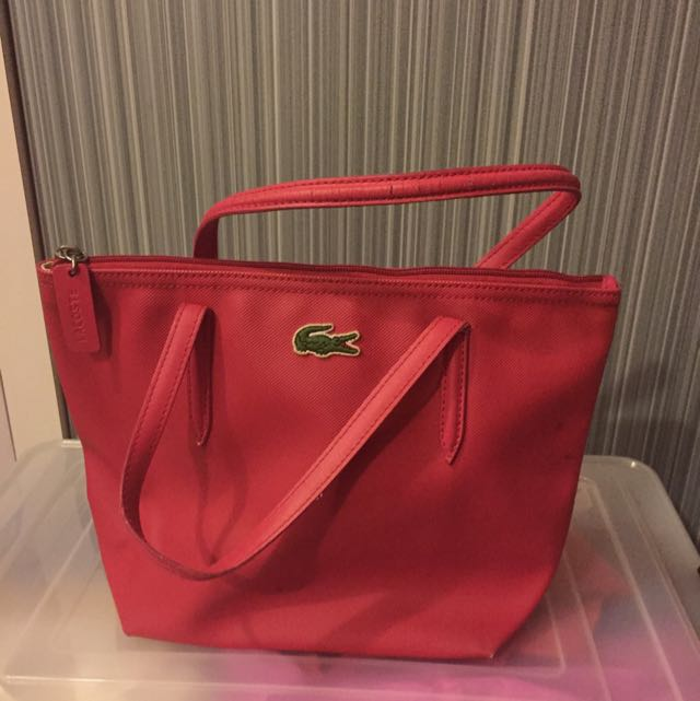 95f86edabc5 Lacoste Small Tote Bag Red, Luxury on Carousell