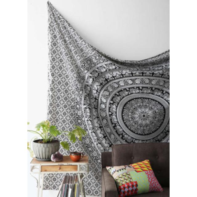 (PO) Black & White Tapestry Mandala Tapestry