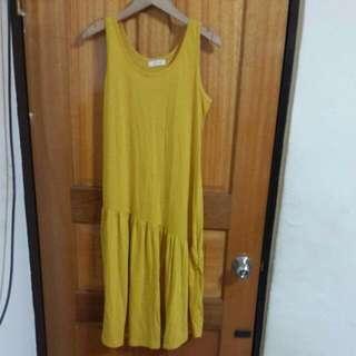 正韓不規則裙擺芥末黃洋裝