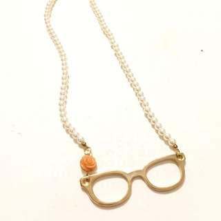 女孩私物|Asos 眼鏡造型珍珠項鍊 全新