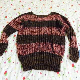 針織毛線長版衣(咖啡 粉色)含運