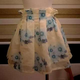 *全新*黃底藍花雪紡短裙