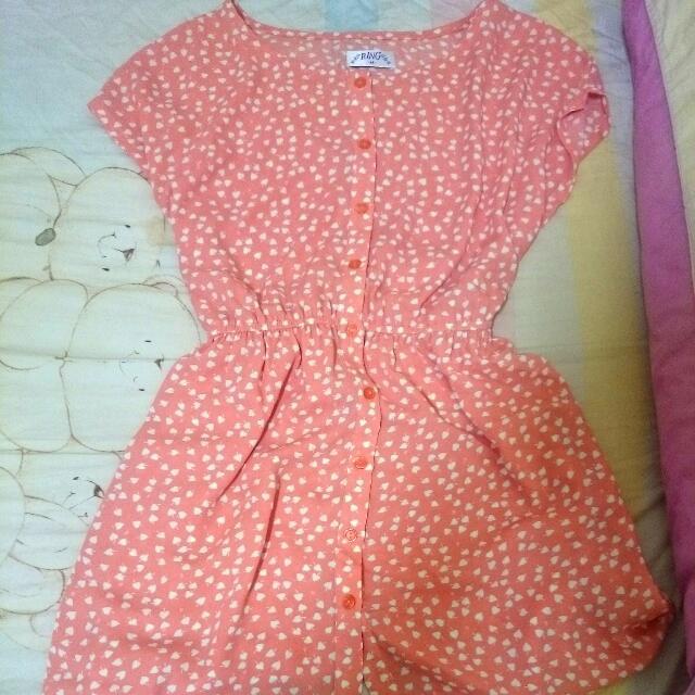 全新轉賣 日本原宿帶回 氣質橘粉愛心短袖洋裝