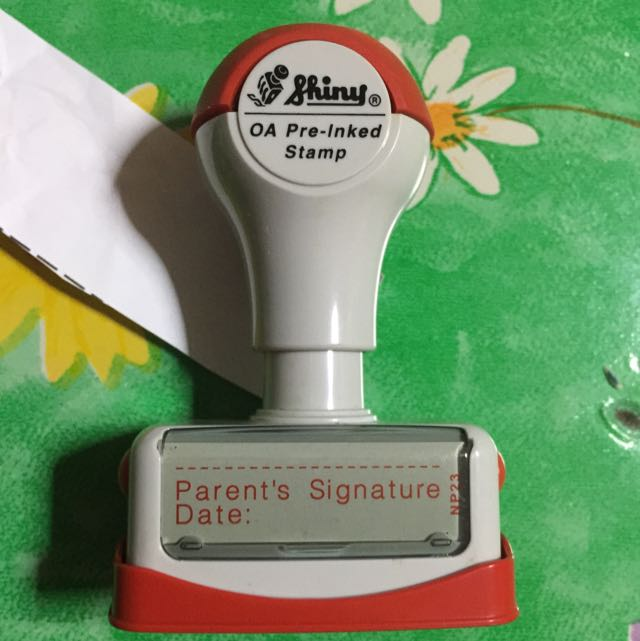 Shiny Pre Inked Parents Signature Stamp Chop Everything Else On