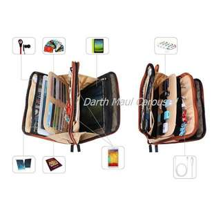 BUBM Double Sided IPAD, Tab , Galaxy Note 10.1, mobile phone and cables organiser EDC soft pouch