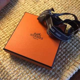 HERMES 愛馬仕橘色小紙盒+緞帶