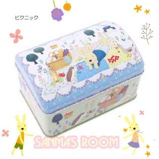 日本製 le sucre 法國兔10週年紀念小寶箱收藏鐵盒 - 藍色 單個售