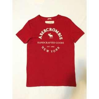 A&F T恤 亮紅色 麋鹿 夏日 男版S