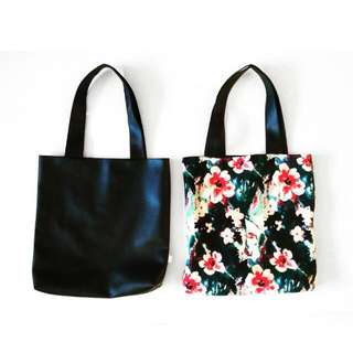 Handmade Reversible Leather Tote Bag In Black
