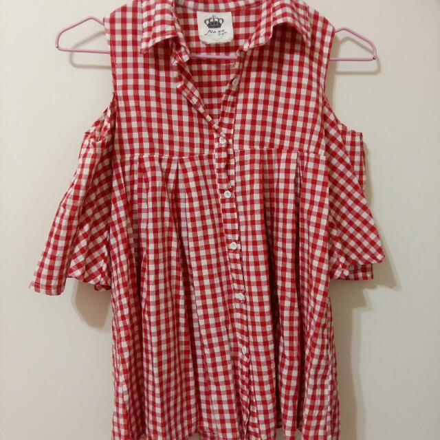 (保留)韓版Nana紅色格子露肩洋裝