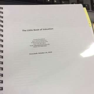 Printed Copy Of The Little Book Of Valuation