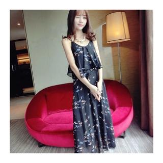 korea fashion七彩小鳥圖騰度假風長洋裝