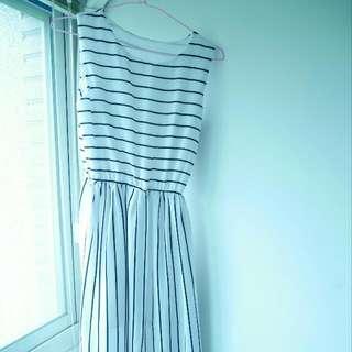 條紋無袖長洋裝