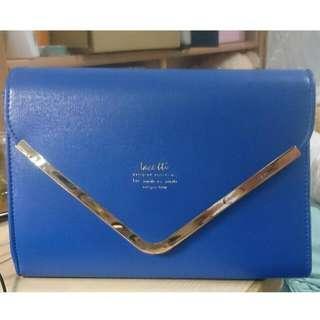全新 寶藍色信封包 典雅風