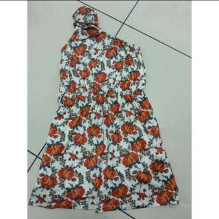 Cream Floral Toga Dress