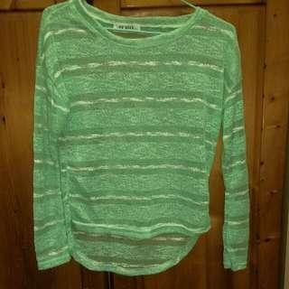 針織果綠色長袖短上衣