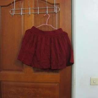 針織酒紅色小圓裙
