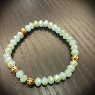 波西米亞風綠珍珠手環