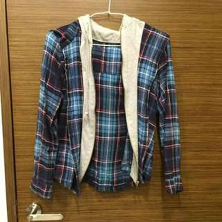 格子假兩件拉鍊外套