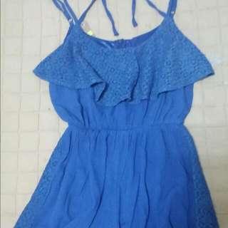 全新~海軍藍細肩帶連身褲裙