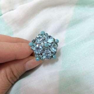✨藍色五角亮鑽戒指💍