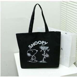 【五折】史努比黑色側背袋 購物包 手提單肩包