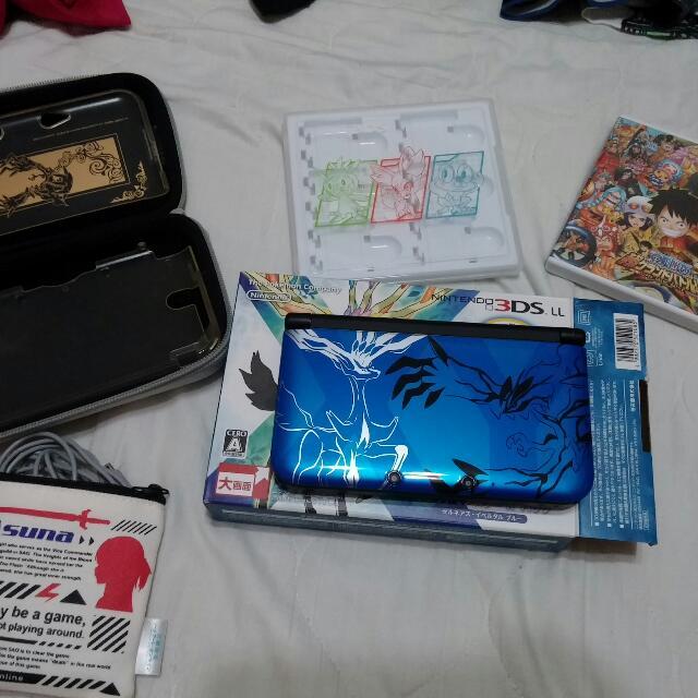 3DS 神奇寶貝 X 藍 限定機 全套 配備