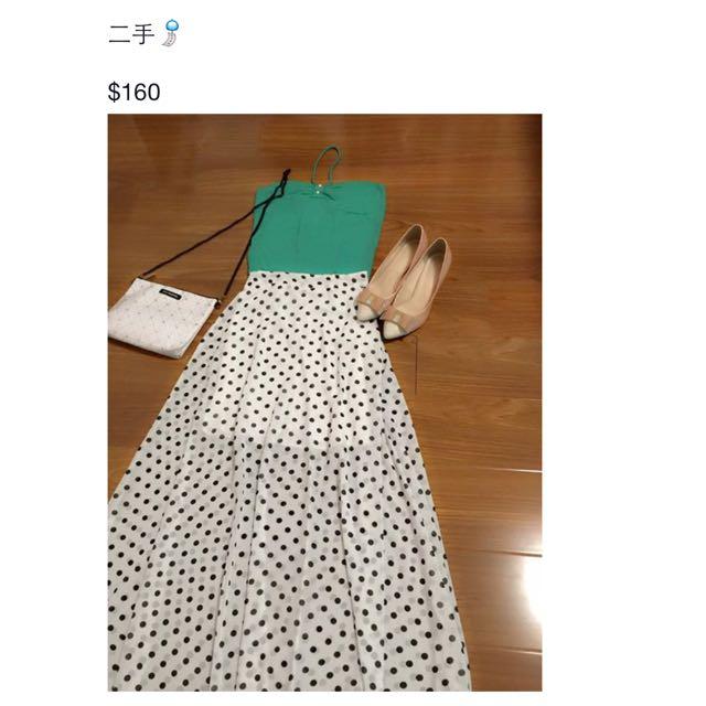 兩件組 小可愛➕點點雪紡長裙