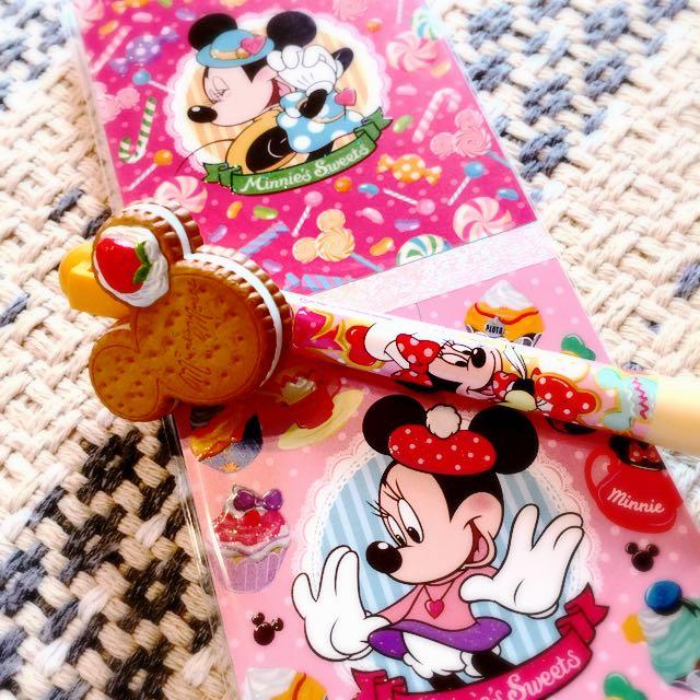 迪士尼 米妮便條紙 原子筆