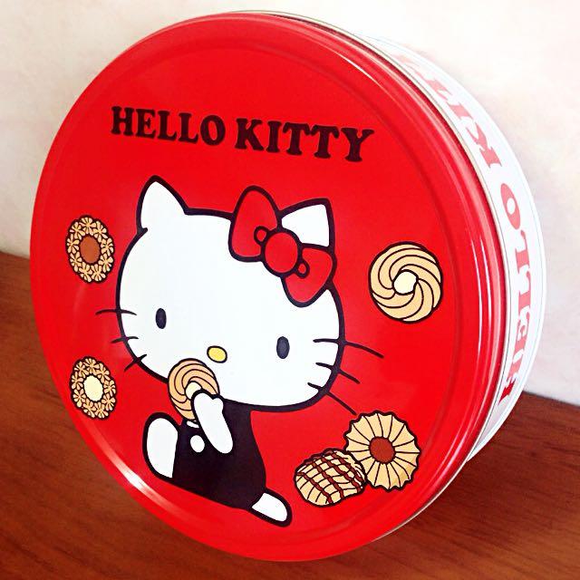(二手)Helli kitty 餅乾鐵盒-紅白