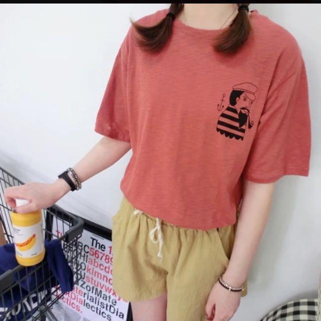 玩味煙斗水手頭像短袖T恤(降價)