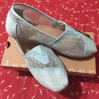 (降價賠售)新款TOMS MINT LACE 薄荷綠色優雅蕾絲懶人鞋