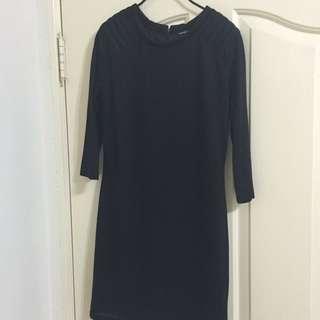 專櫃mango 黑色洋裝 七分袖
