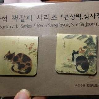 韓國 菊庭秋貓 蕉秋貓 磁鐵書籤