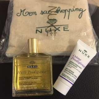 NUXE 黎可詩 全效晶亮護理油 +活膚乳+收納環保袋
