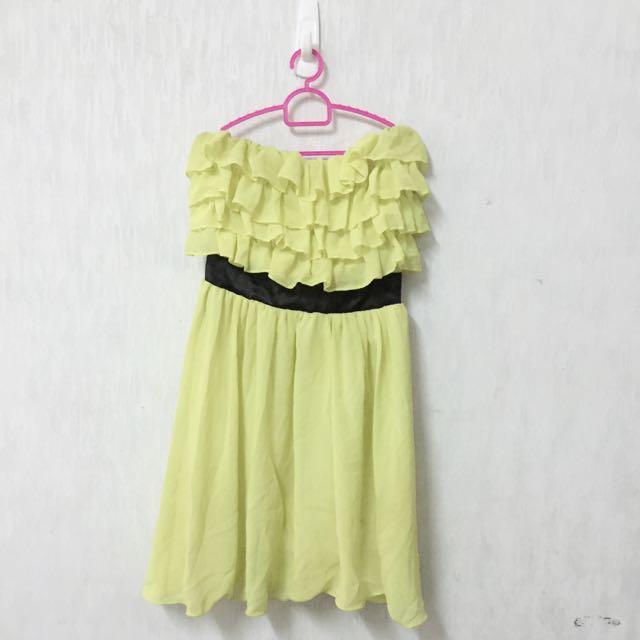 2手螢光黃平口洋裝