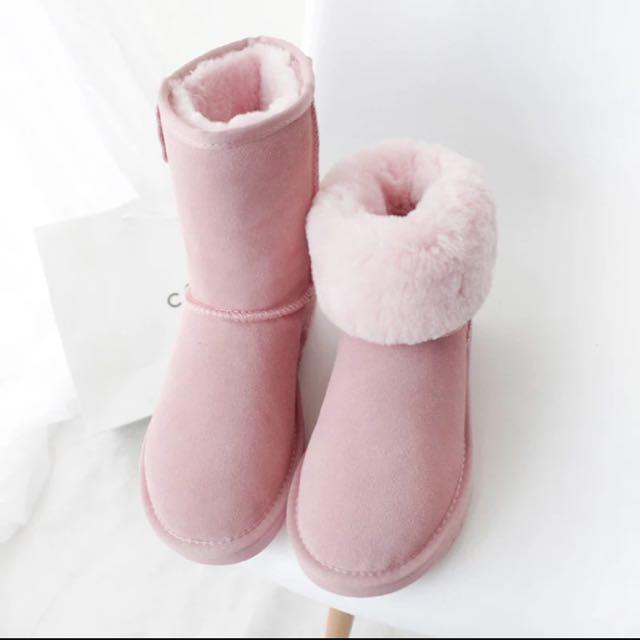 全新牛皮雪靴