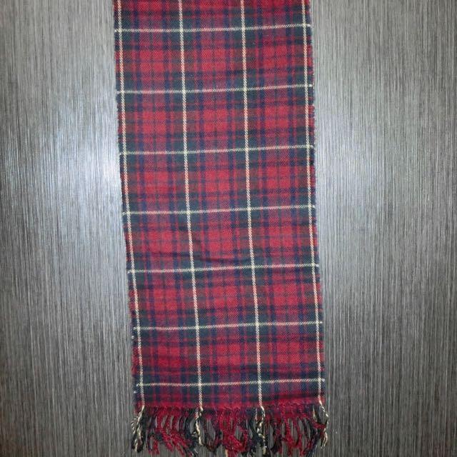 全新紅色格子圍巾