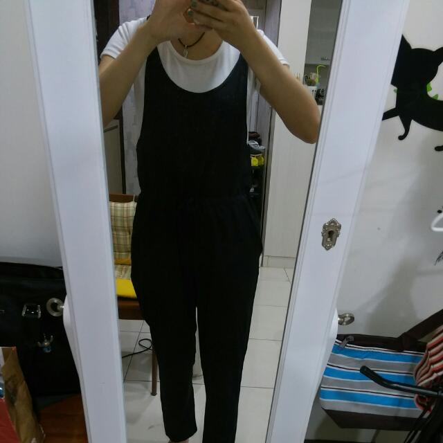黑色雪紡連身褲