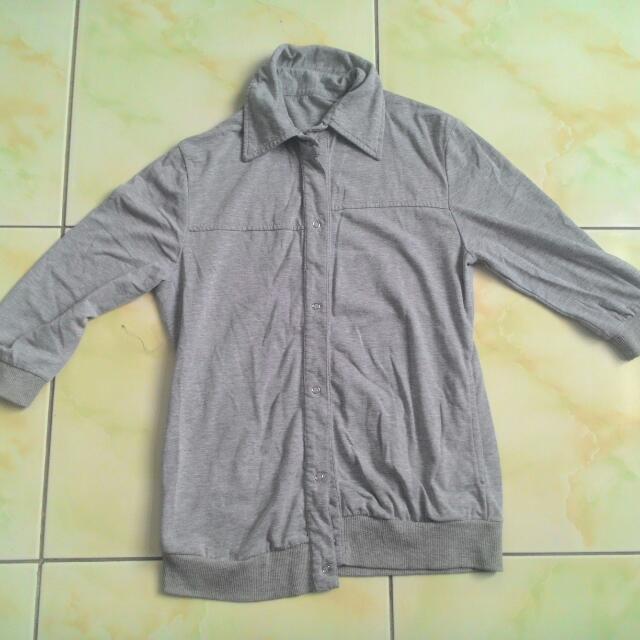 灰色七分袖棉質外套