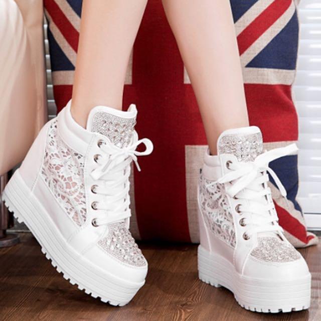 韓版水鑽厚底鞋