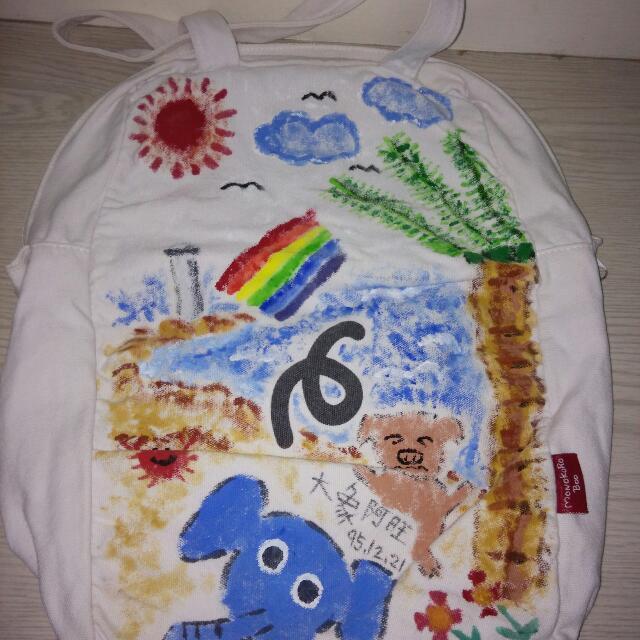 彩繪白色豬豬側背包
