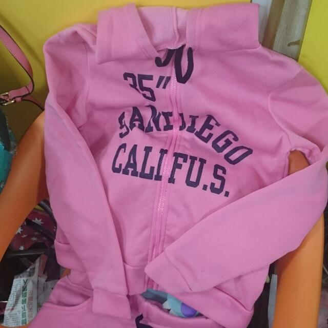 撲棉 外套 + 運動裙 粉色 穿過一次