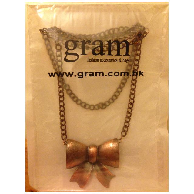 香港品牌-gram金屬大蝴蝶結項鍊