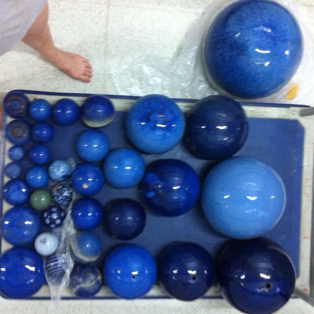 Blue Glazed Ceramic Garden Decoration Balls Furniture Others On Carousell
