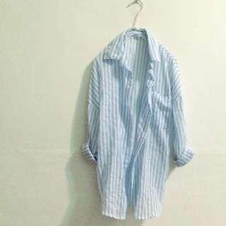 夏日藍白線條襯衫