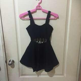 黑色前後縷空洋裝