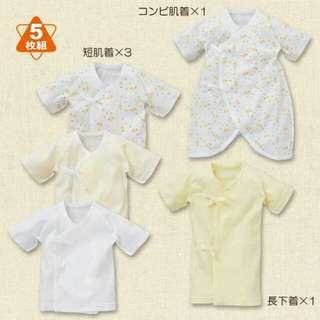 日本 好可愛好可愛~小朋友雜誌款 5枚組新生児肌着