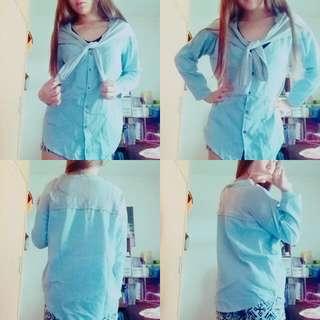 寬鬆淺藍綁帶襯衫