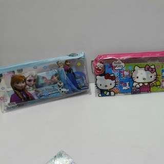 卡通鉛筆盒組(冰雪奇緣,kitty,米奇米妮